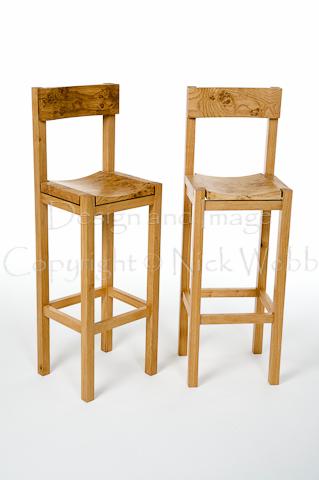 Bar stools in pippy oak